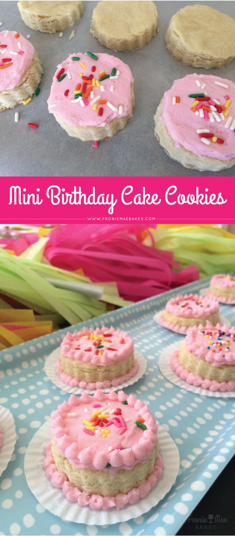Cute Birthday Cake Sugar Cookies by Fronie Mae Bakes www.froniemaebakes.com
