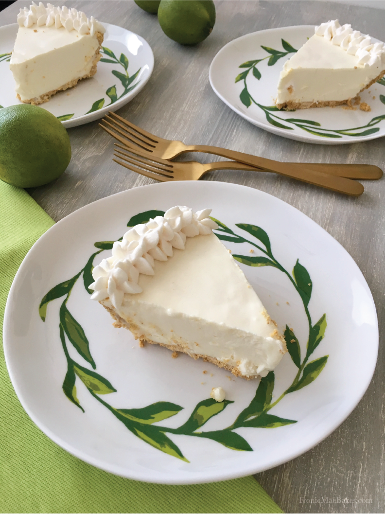 Easy To Make Four Ingredient Frozen Key Lime Cream Pie is delicious! Recipe on www.froniemaebakes.com