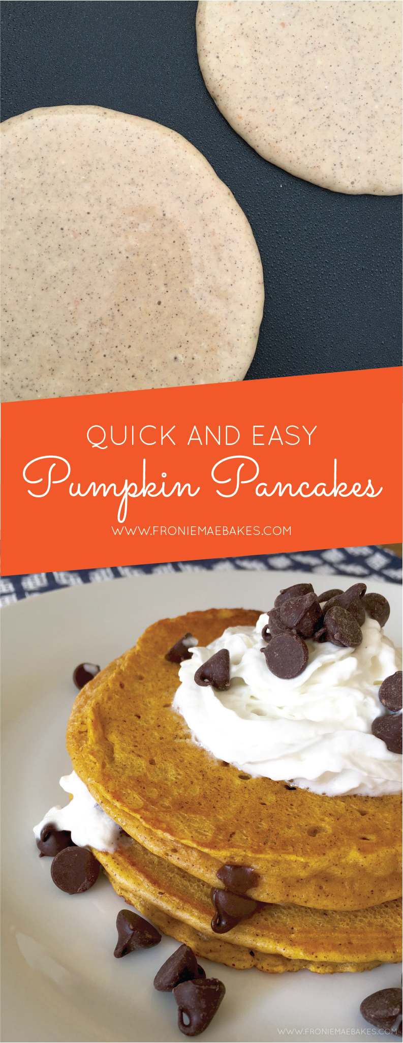 Make these delicious quick and easy pumpkin pancakes today! www.froniemaebakes.com