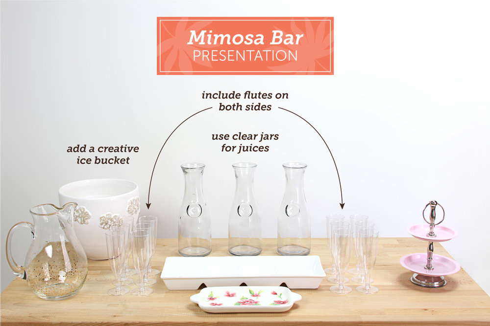 Whether you've heard a mimosa bar or not, you'll want to pay close attention! This fun and creative way to upgrade your brunch party, evening soirée or fun girls night in can be done in a dash.  Inspiration from Shari's Berries featured on Fronie Mae Bakes. www.FronieMaeBakes.com
