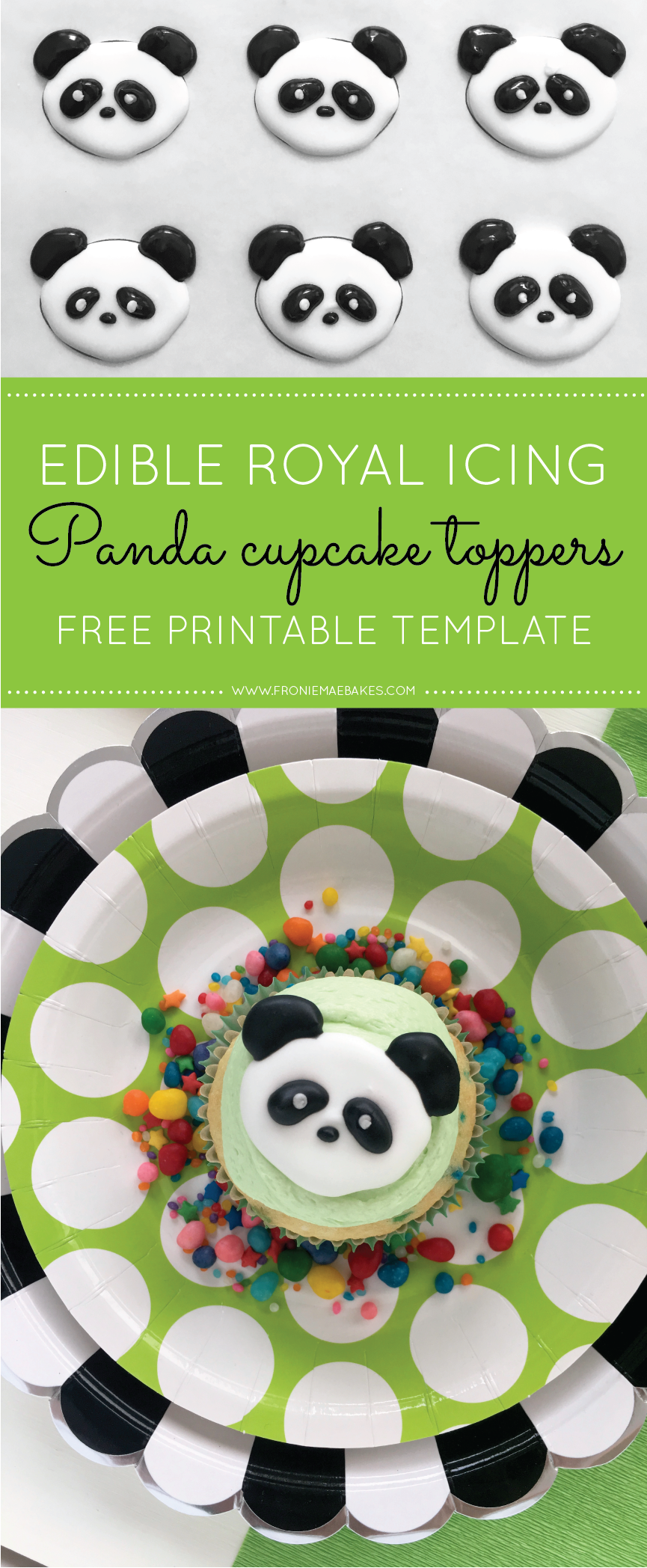 royal icing panda cupcake topper with free printable template