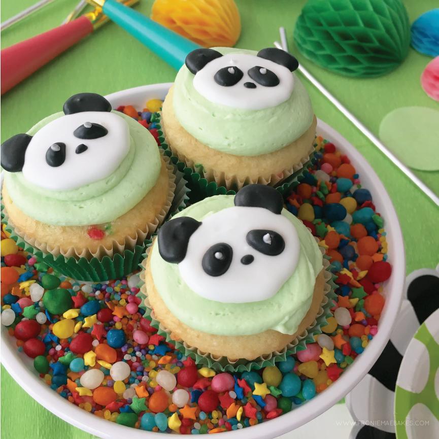 royal icing panda cupcake topper with free printable