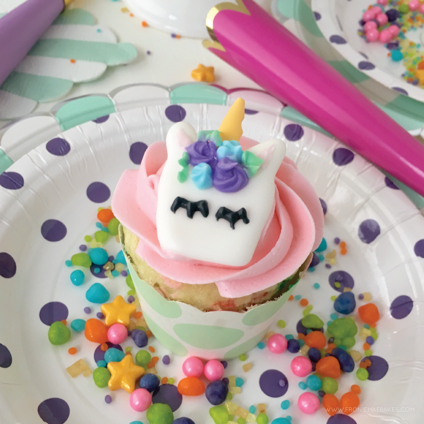 whimsical royal icing unicorn cupcake toppers with free printable template fronie mae bakes
