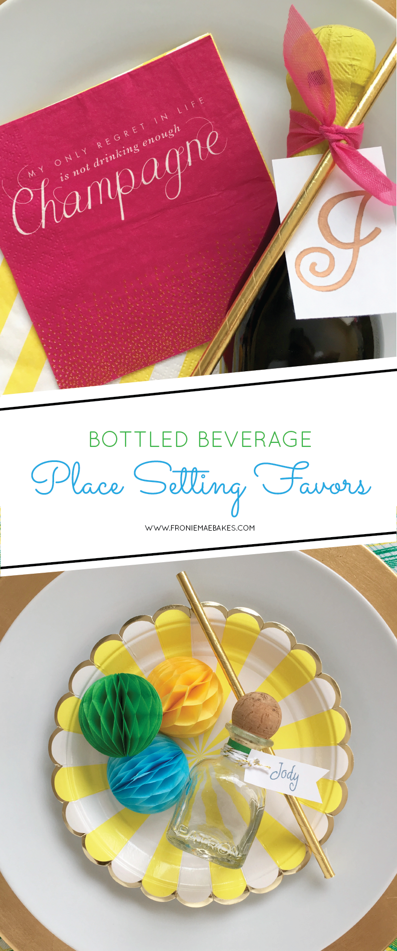 Make cute beverage place card favors for your next party using some of these ideas found on www.FronieMaeBakes.com
