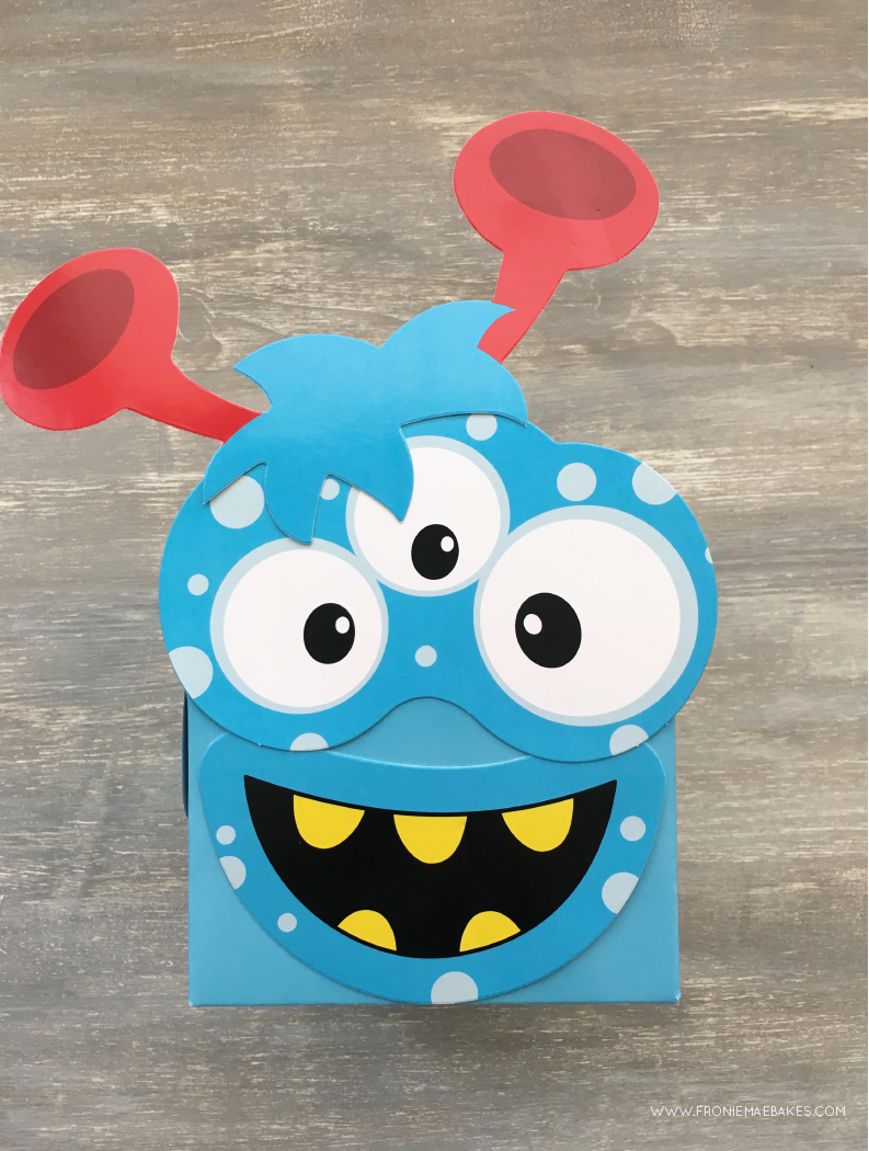 Step four...Create these fun and colorful monster cupcake boxes in just a few easy steps. www.froniemaebakes.com