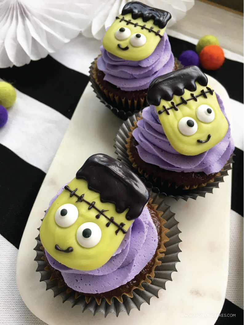 Make these adorable Frankenstein's Monster chocolate cupcake toppers with our FREE DIY printable template. www.FronieMaeBakes.com