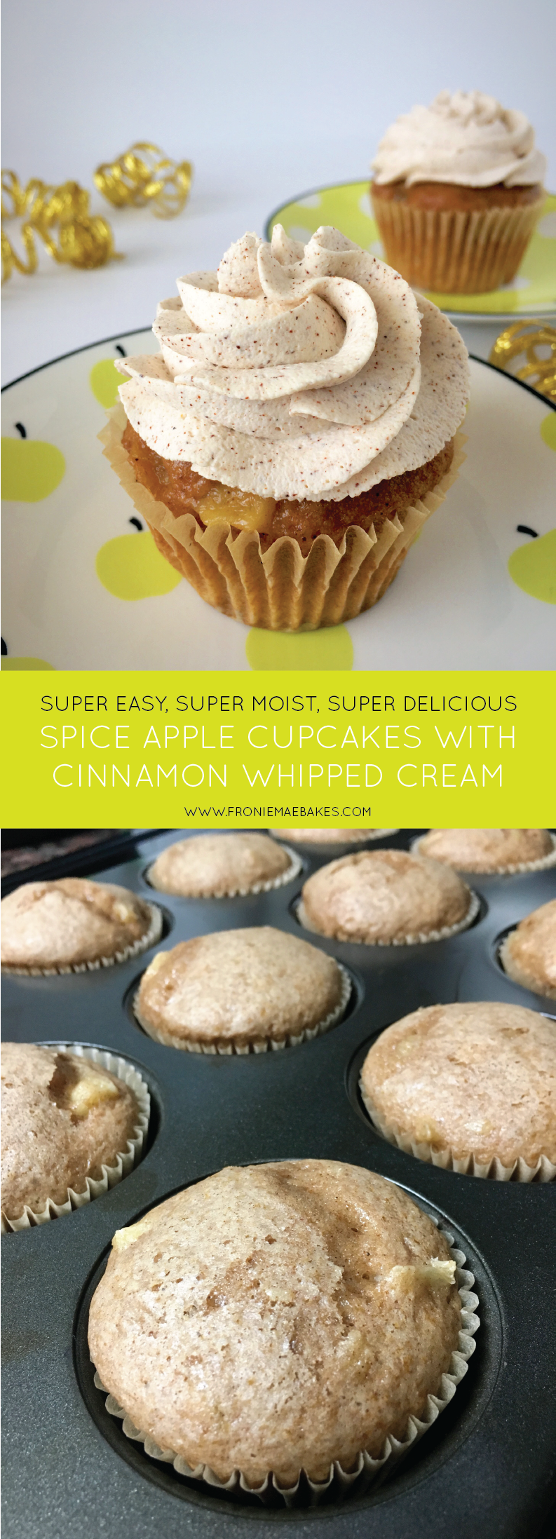 Make these super moist spiced apple cupcakes with cinnamon whipped cream today. Find the recipe on www.FronieMaeBakes.com