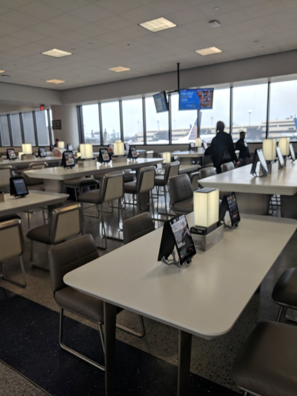 Newark airport had a tablet at every seat, to order food and drinks from!