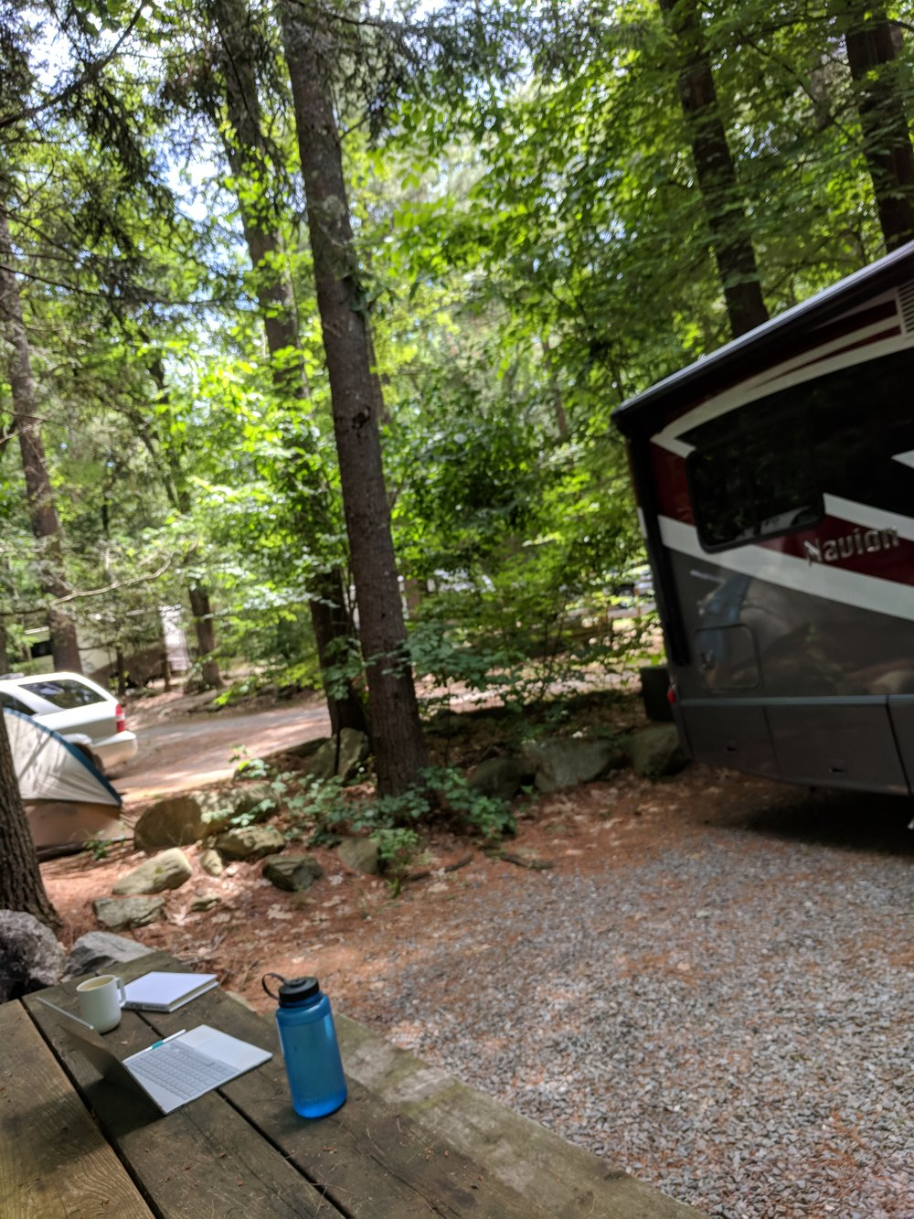 Outdoor office at a campground outside of Boston