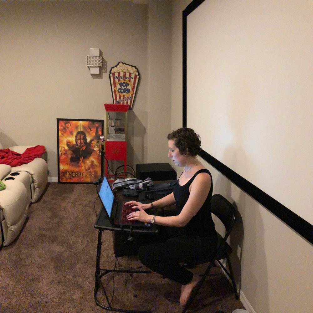 Movie theater office in action