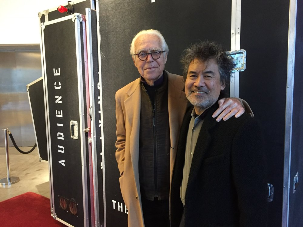 Playwrights John Guare and David Henry Hwang prepare for In This Moment at the Pershing Square Signature Center.