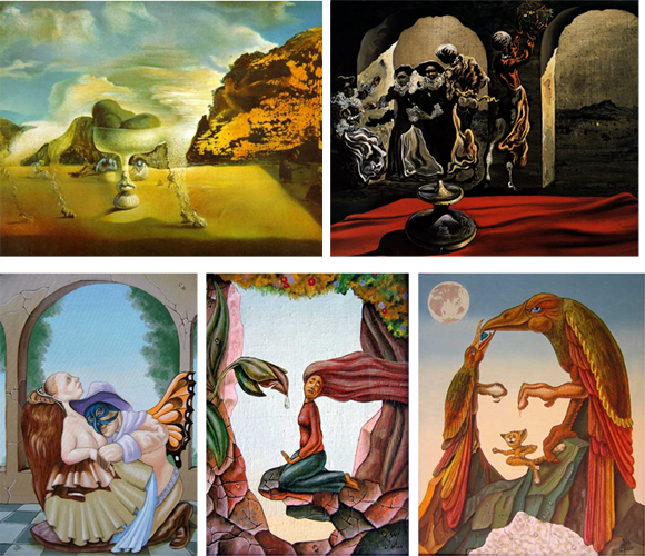 Pareidolia in various Salvador Dalí  & Victor Molev artwork