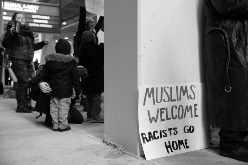 Protest against Trump's Immigration Ban against refugees and asylum seekers from a select list of majority-Muslim countries in the Middle East. Philadelphia International Airport