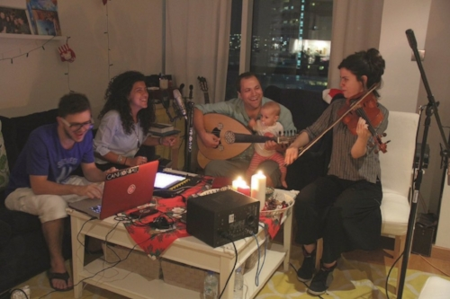 From left to right: Ahmad Molham, Farah Chamma, Maruan Betawi, and Eleftheria Togia jamming.
