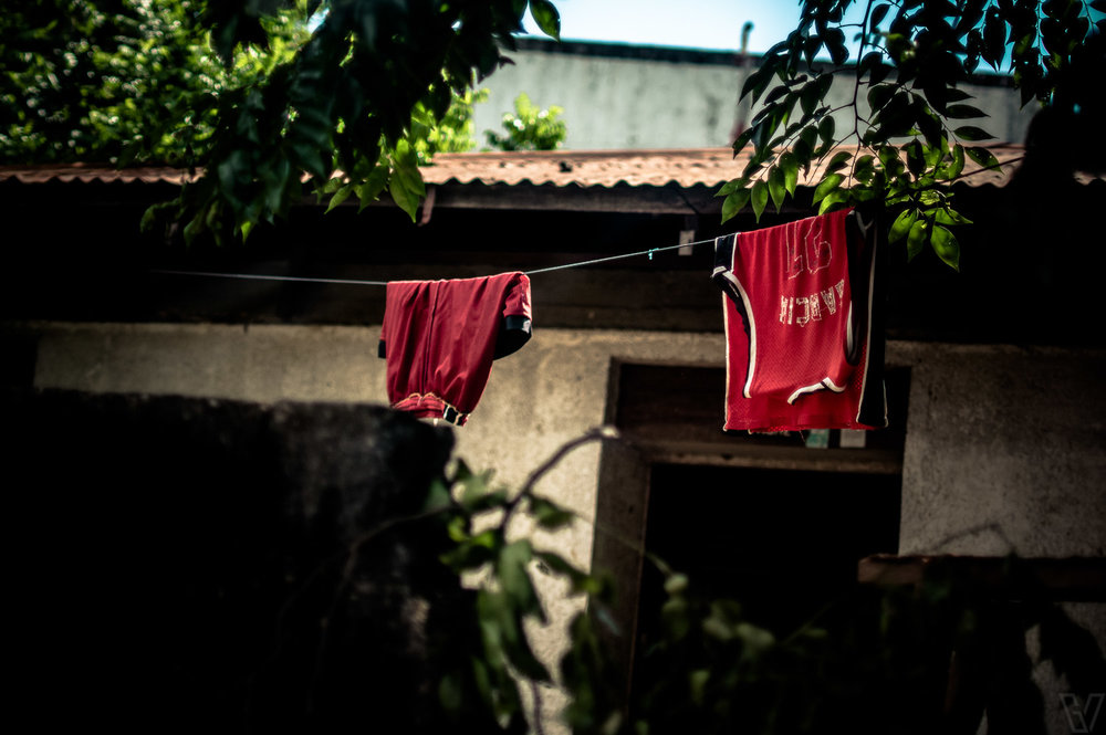 Some clothes left hanging to dry.