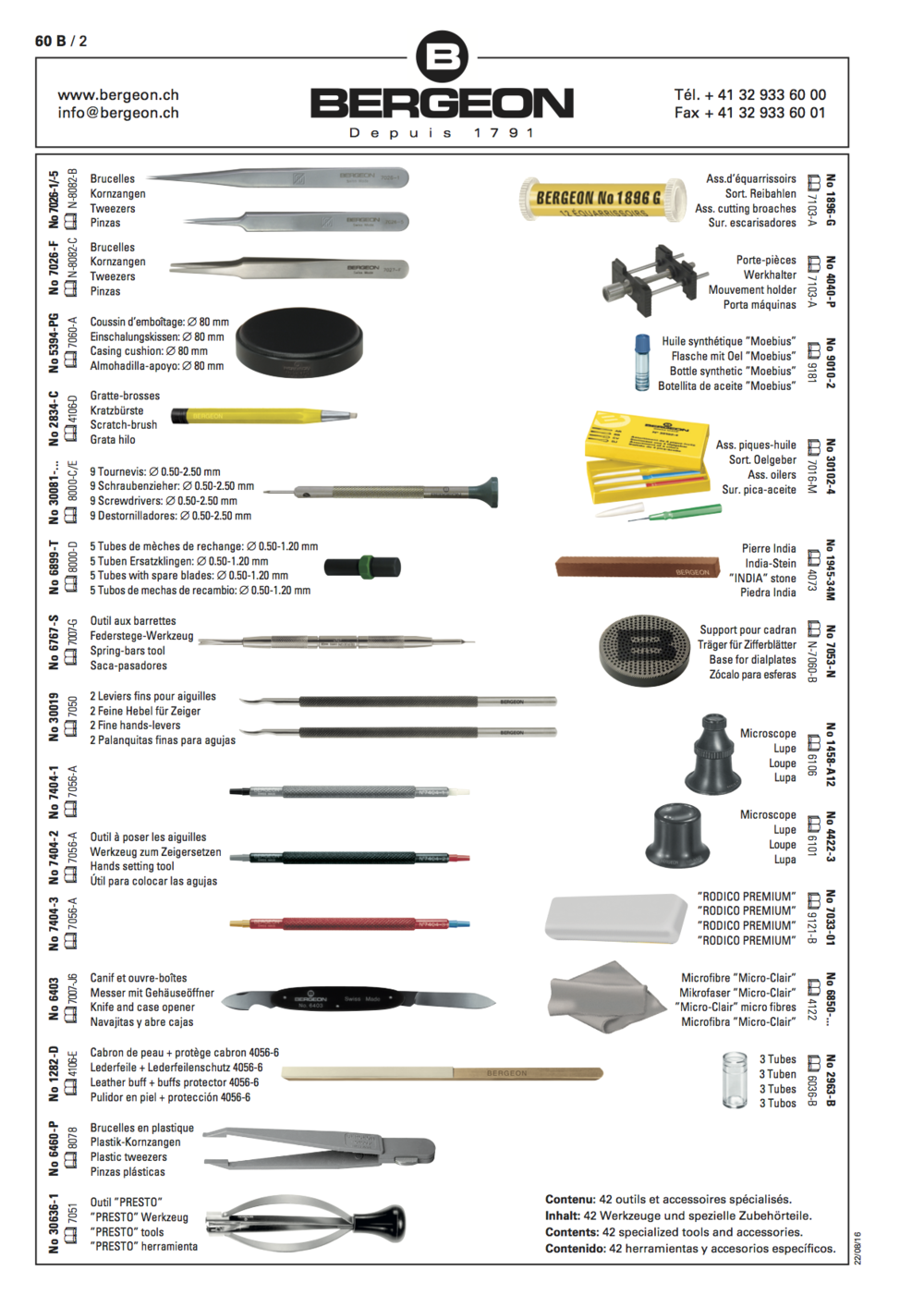 Detailed content of the tools kit for watchmaking after-sale service - Ref. 6817-09