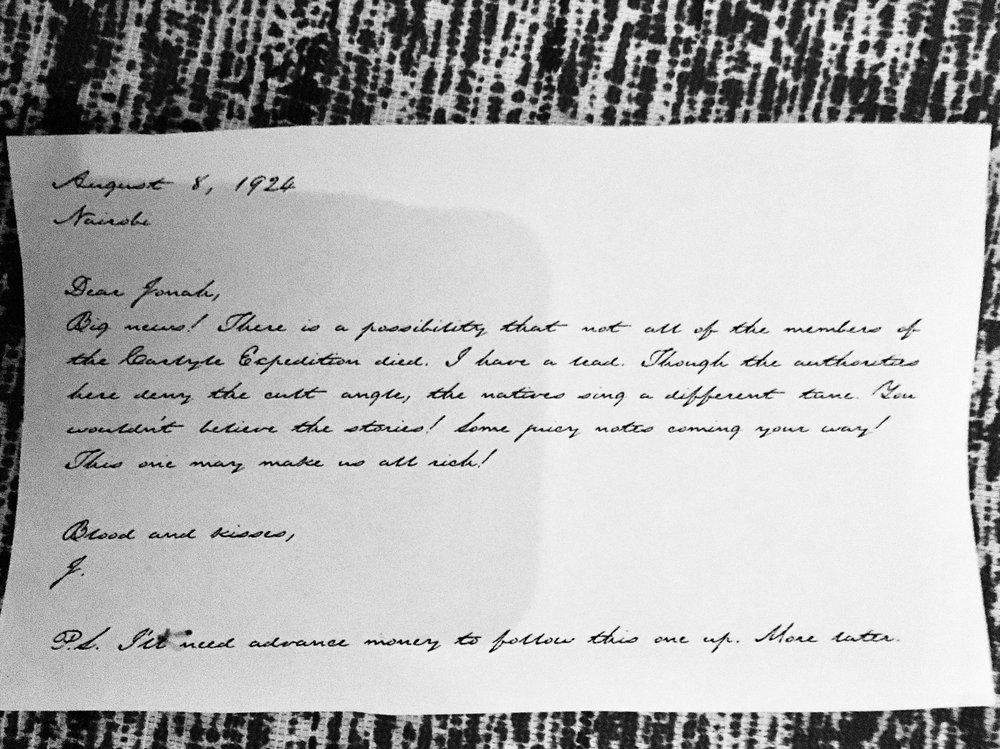 Brev Jackson Elias skickat till sin förläggare Jonah Kensington 8 aug 1924