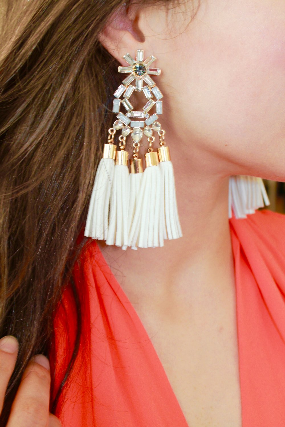 Stone & Tassel Earrings from bebe