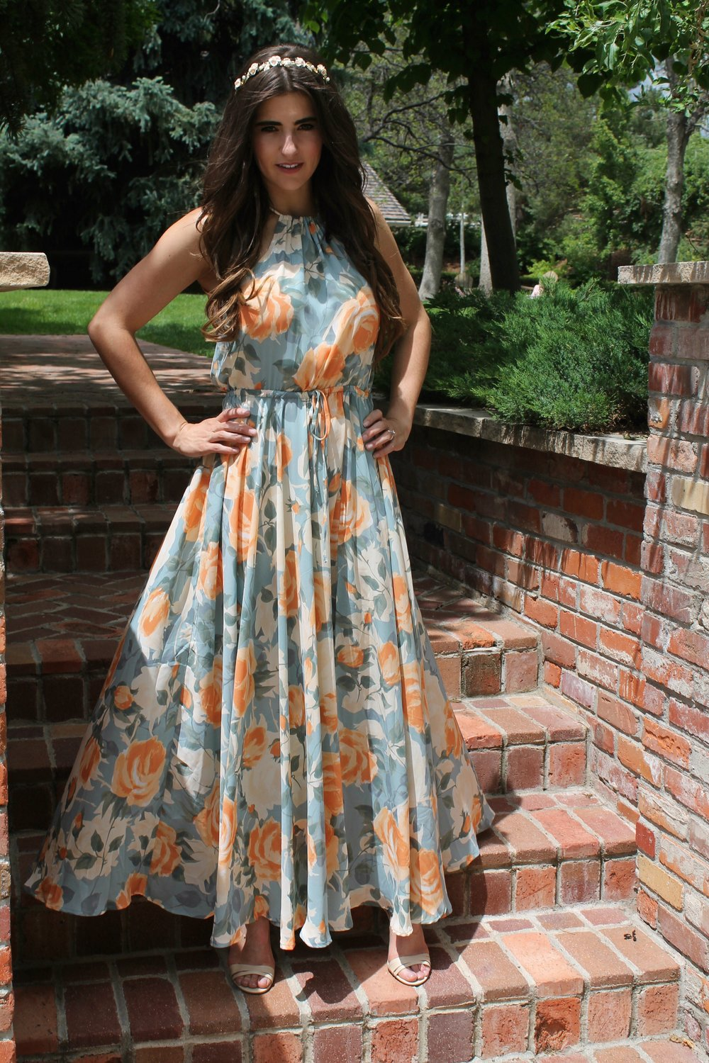 Precious Memories Light Blue & Peach Floral Maxi Dress from Lulu's