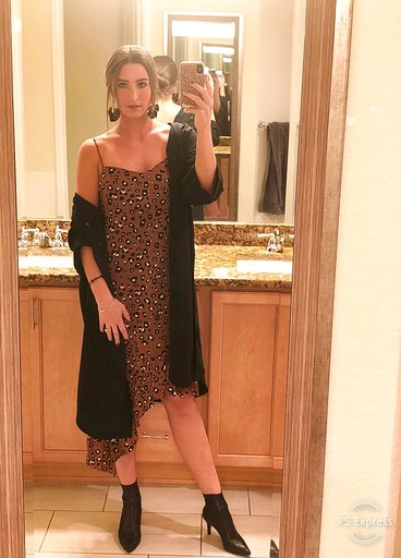 OOTN - Occasion: Influencer dinner, Boost by Lyft hosts denv.her. at TAG RestaurantJanuary 2019Outfit Details:FELINA BROWN LEOPARD PRINT ASYMMETRICAL MIDI DRESS LUSHSEPHIA BLACK LIGHTWEIGHT LONG JACKETMacy's, INC Sock Booties