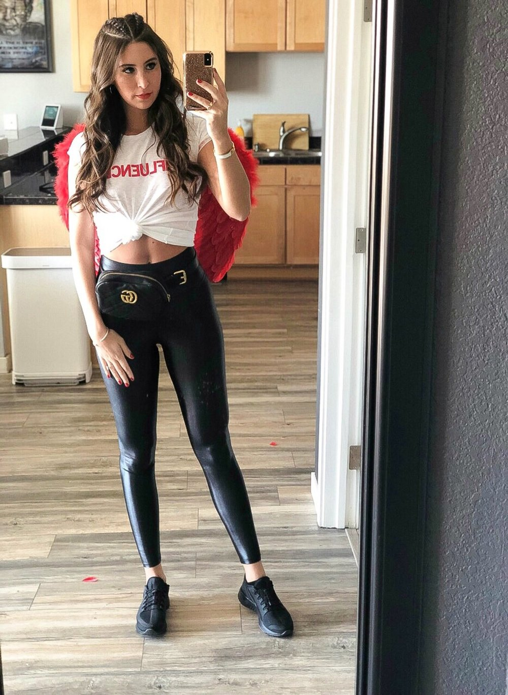 OOTD - Occasion: Cupid's Undie RunFebruary 2019Outfit Details:Influencer ShirtCarbon38 High Waisted Takara Legging (Size down! Normally I wear mediums but these in a small fit perfectly)Gucci Belt BagNike Odyssey React Shield