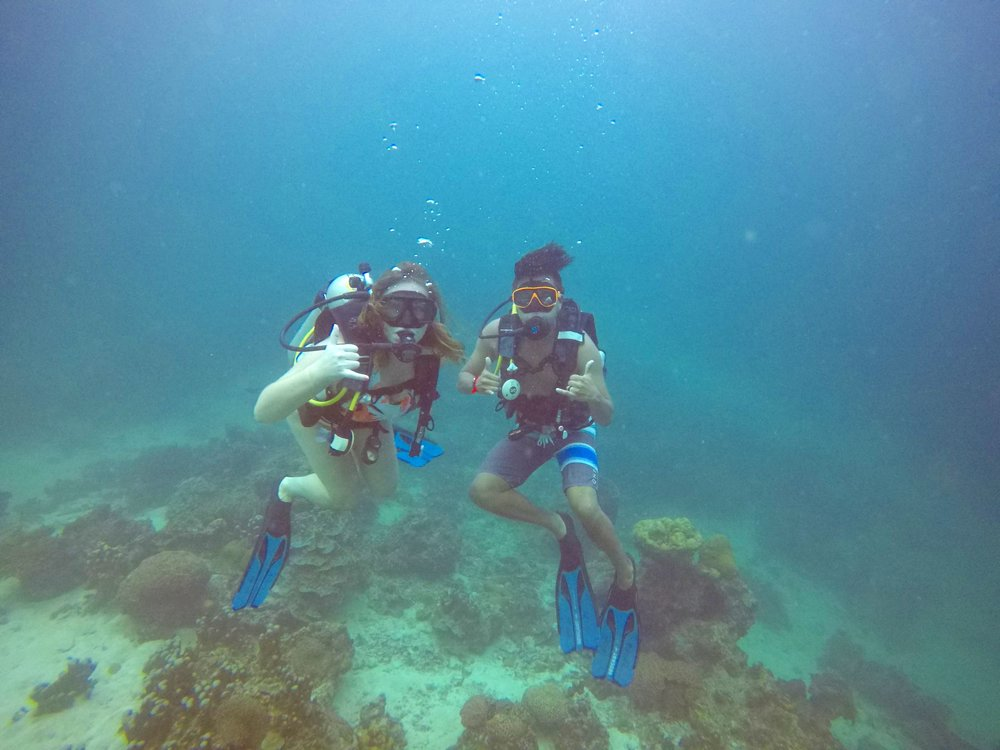 Antonio's first time scuba diving. Now he's hooked!