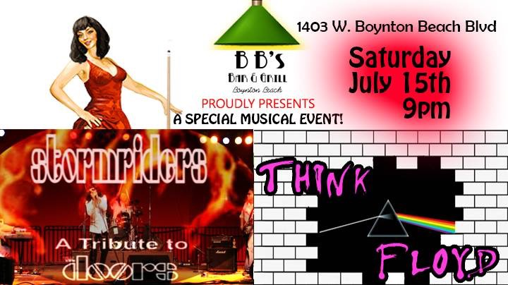 Get ready for a full on Doors experience with Stormriders at BB's...THEN....get ready for THINK FLOYD, a tribute to Pink Floyd! This is a show you don't want to miss, playing the best of The Doors in full costume and then a set of Pink Floyd! Clear your calendar and make this your Saturday night event! Jim Morrison and David Gilmour would approve!
