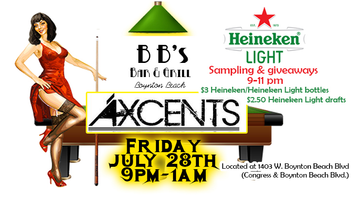 We are excited to welcome Axcents to BB's with their high energy and fun approach to modern top 40 hits and your favorite dance and rock songs! ALSO, from 9pm-11pm Heineken Light will be sampling their Heineken Light and giving away cool stuff! $3 Heineken/Heineken Light bottles, $2.50 Heineken Light draft, $4 Fireball & $4 Lemondrop shots! So don't miss all the fun!