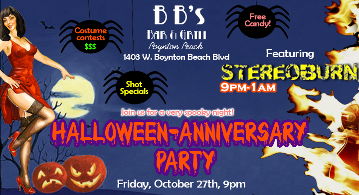 Get ready for the biggest night yet at BB'S! We are celebrating our one-year anniversary and we have Stereoburn hosting our Halloween costume contests and rocking you all night long! Judging starts at 11pm for Best Couple costume, Scariest costume and the cash prize will go to the Sexiest costume!  We have all sorts of goodies for you, shot specials and free candy! Looking forward to seeing you all!