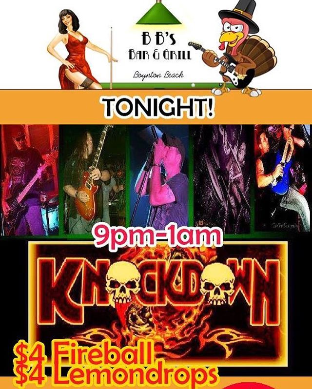 Tonight, it's the biggest party night of the year, so naturally we've got the most rockin' band for you, KNOCKDOWN! $4 Fireball & $4 Lemondrop shots, kitchen open late! Get out of the house while you still can! Smoking permitted. #friendsgiving #boyntonbeach #thingstodoinboyntonbeach #knockdownband #fireballwhiskey #lemondrop #partytime #thanksgivingeve #bbsboyntonbeach #bbsofboynton #rockandroll @vidulichn
