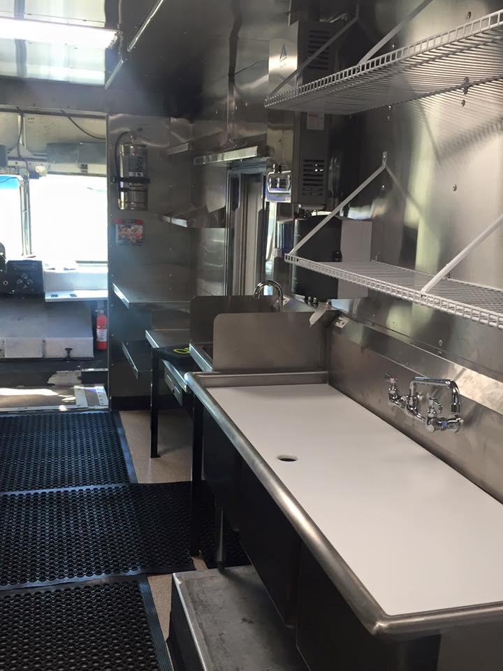 interior food truck kitchen stainless steel