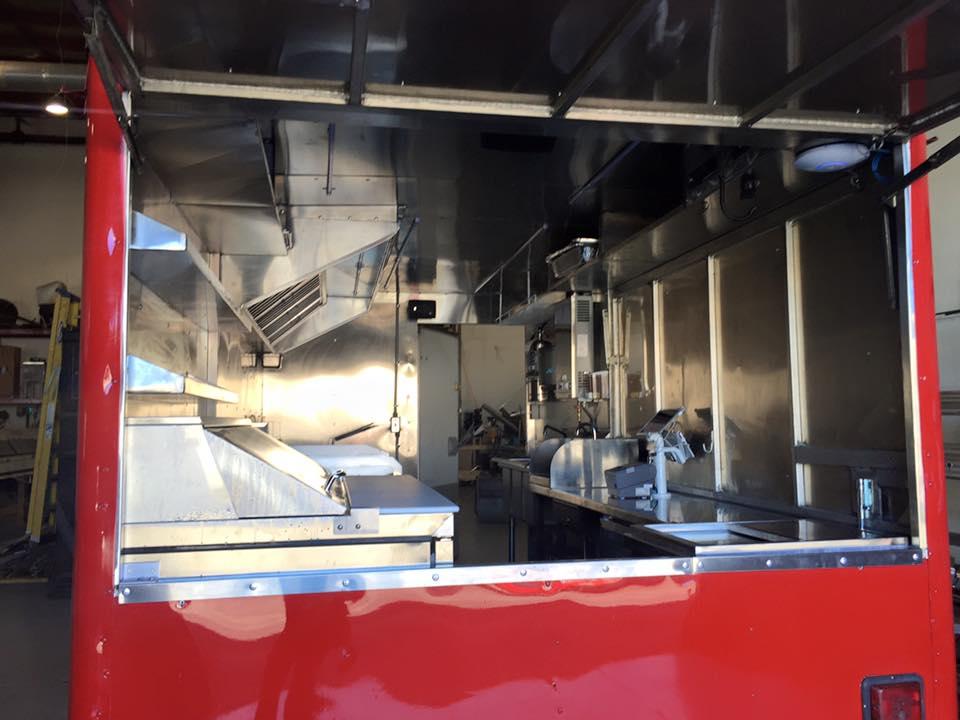 Red Food cart serving window