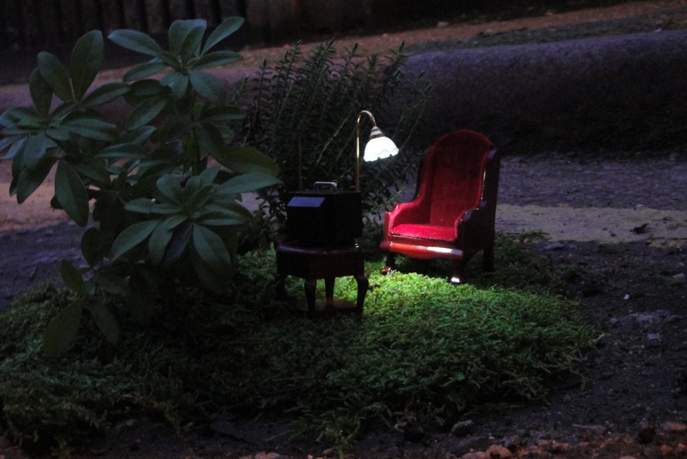 Pothole garden night time steve wheen miniature garden