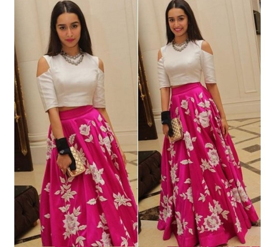 crop top and lehenga for wedding guest outfit