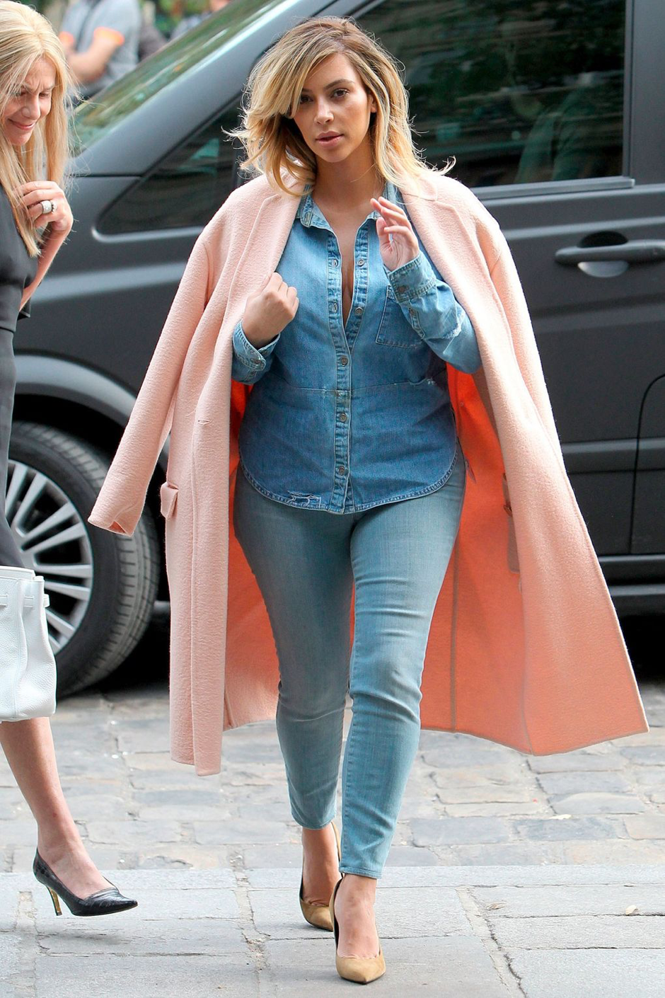 kim denim look with pink long coat