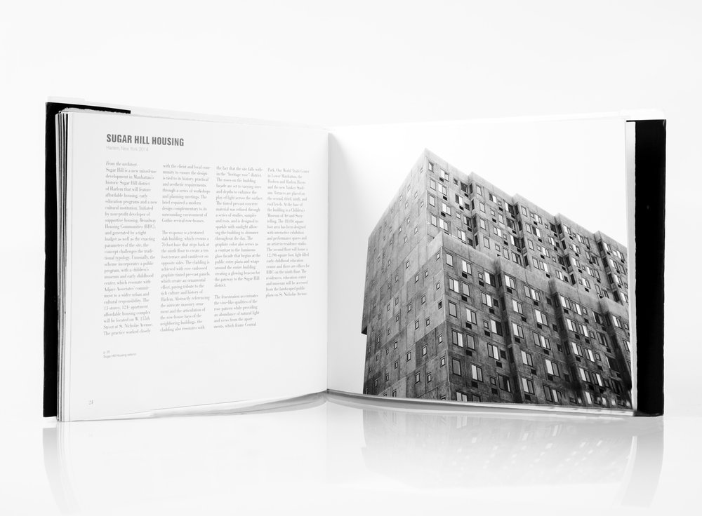 Spread from David Adjaye book describing the Sugar Hill Project