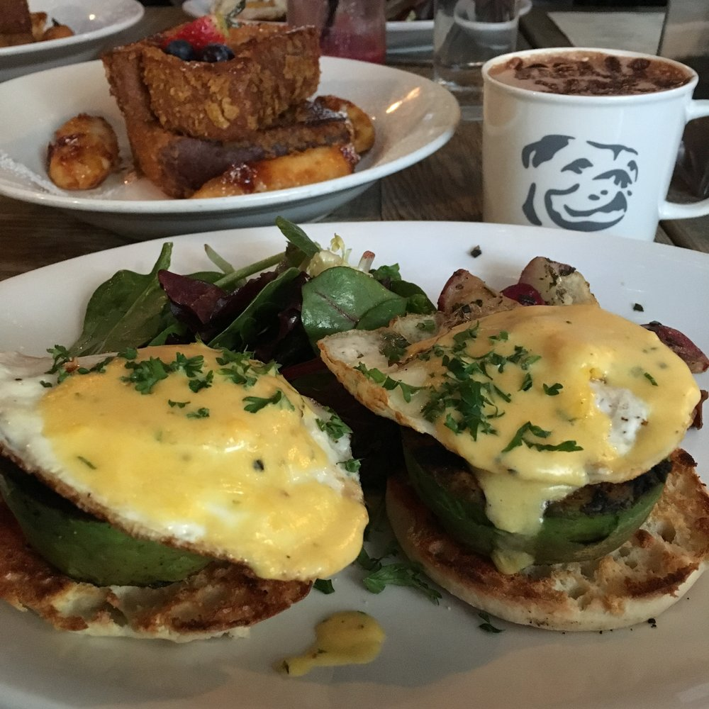 Grilled Avocado Benedict and Crunchy French toast.