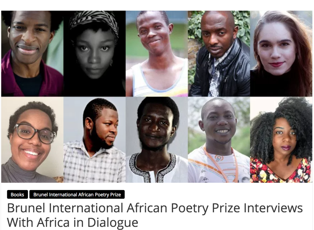 Brunel International African Poetry Prize Interviews with Africa in Dialogue,   Africa in Dialogue, May 1, 2017