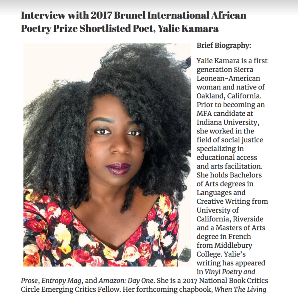 - Brunel International African Poetry Prize Interviews with Africa in Dialogue, Africa in Dialogue, May 1, 2017