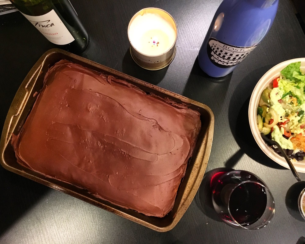 Recovery means Bachelor Mondays complete with cake, wine, burrito bowls, and girlfriends.