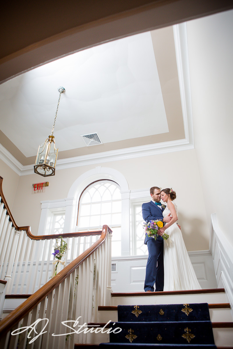 Bride and Groom on the steps of The French House