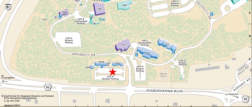 """Map of Penn State Hazleton Campus. Red Star Indicates """"LOT K"""""""