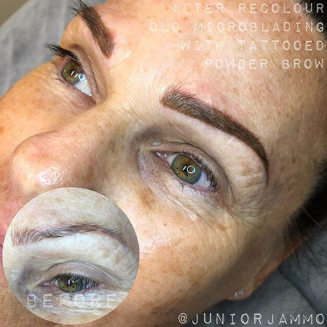 ✨fresh tattooed powder brows✨ Was such a pleasure tattooing Helen and her beautiful sister recently at @tailormadetattoo ! Helen had previously had her brows microbladed twice. Both times the pigment dramatically changed and dropped out. To correct this irregular peachy pigment we opted for a full powder brow tattooed in a custom tone specifically chosen to neutralise the old colour. This soft, flat, nutty blonde-brown tone will soften slightly over the coming weeks to leave Helen with a permanent defined brow. So excited to see her soon for a healed picture!! Thanks Helen x To enquire about your custom, corrective or cosmetic tattoo idea email me at juniortattoosandart@gmail.com or text 0423176620 Www.tailormadetattoo.com.au Www.juniortattoosandart.com