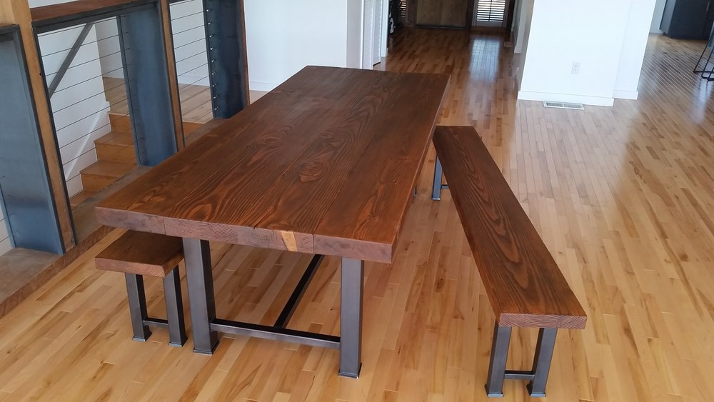 Dining room table set, textured doug fir top, steel base.