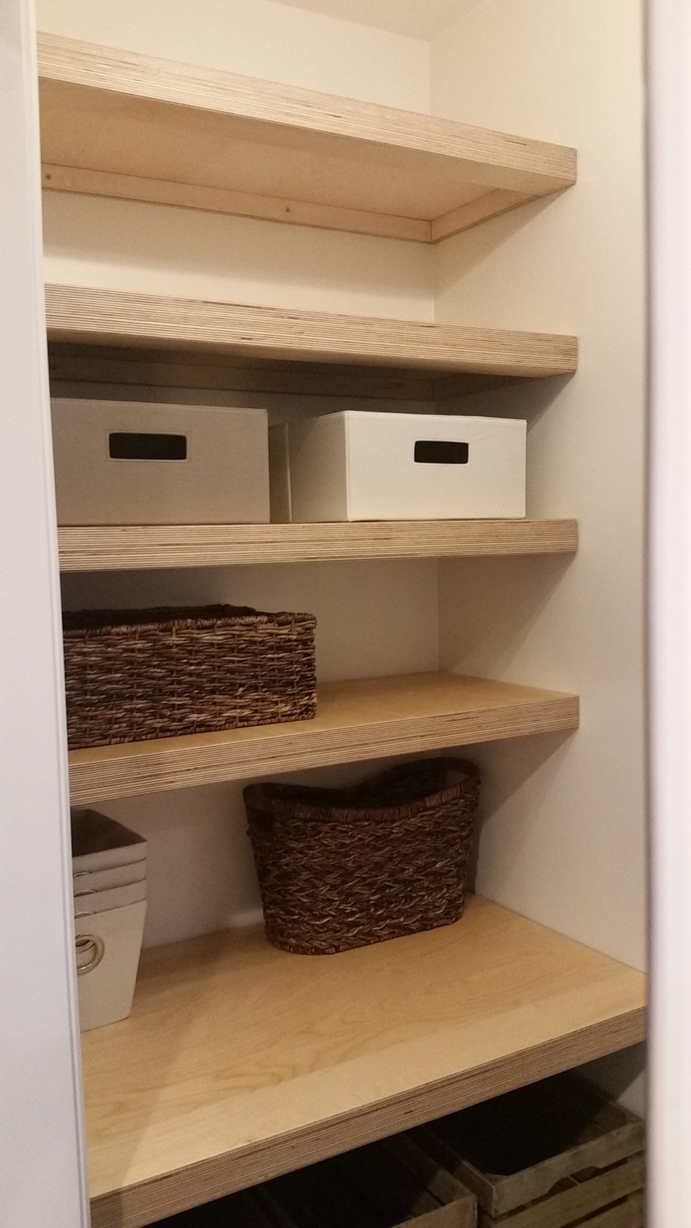 Built in Birch plywood shelves