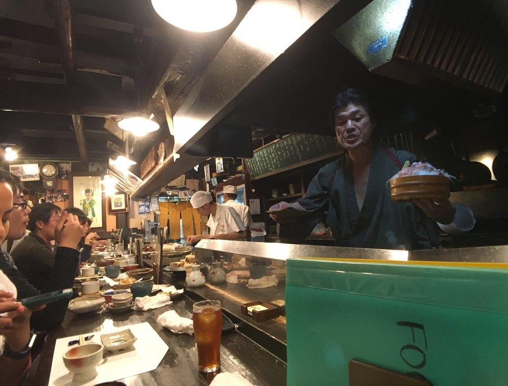 My sashimi dish just about to be served. Fantastic Izakaya experience at Itaru Honten in Kanazawa.