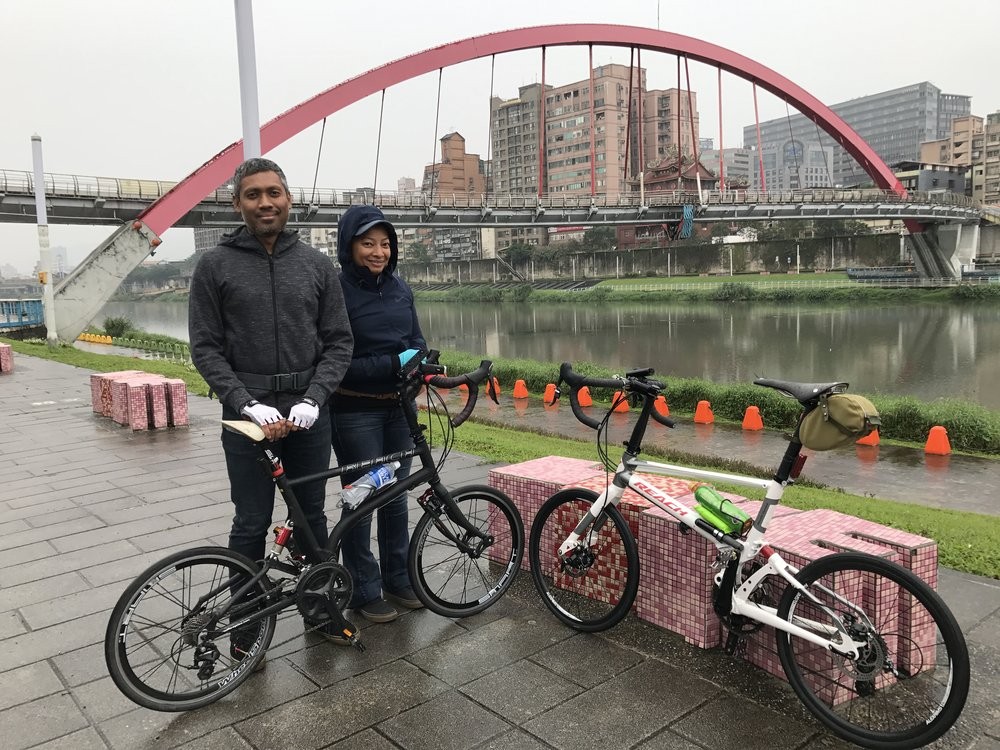 A rainy moment by the Rainbow Bridge in Taipei. My Reach is on the right; on the left is Nadiah's 3rd generation Reach racing.