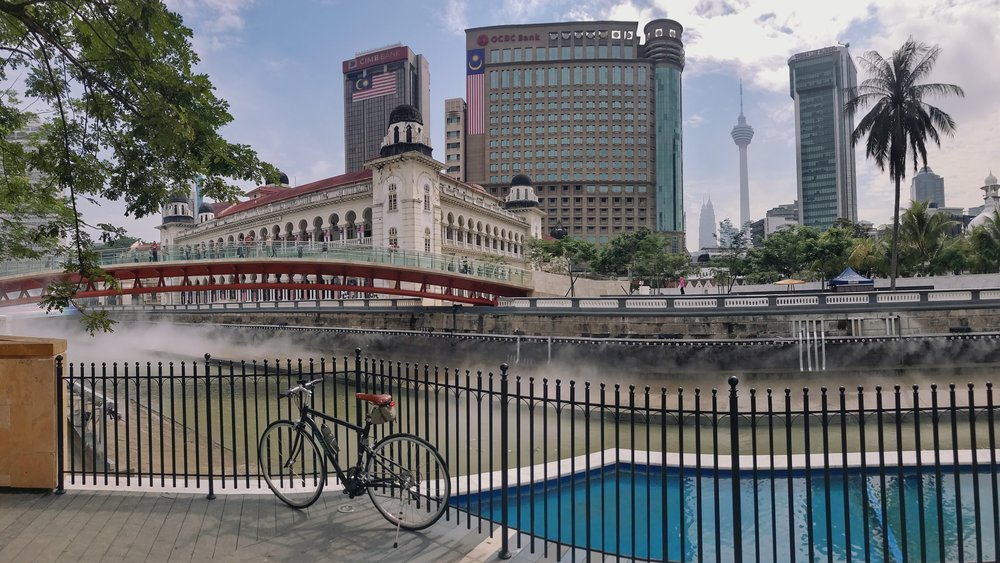 Exploring the recently constructed paths along the river behind the Sultan Abdul Samad building in Kuala Lumpur.