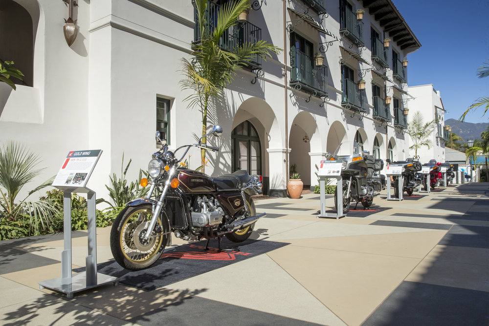 Upon arrival in Santa Barbara, guests checked in to the brand-new Hotel Californian, where milestone Gold Wing models were displayed in the courtyard.  Image: Kevin Wing