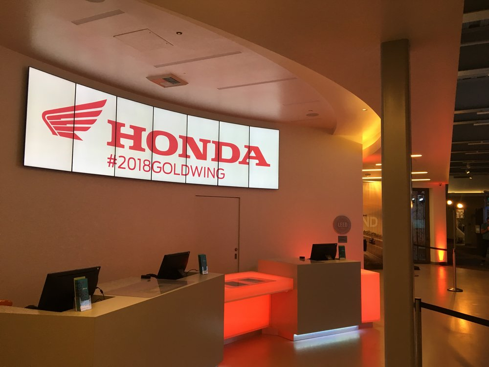 Additional branding touches included placing a Honda logo on the front-desk monitors.  Image: Islay Events